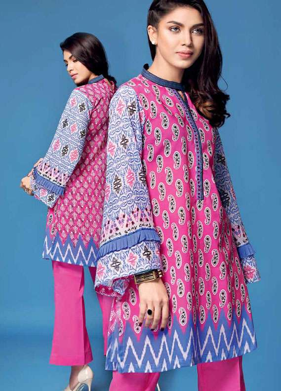 Gul Ahmed Printed Lawn Unstitched 2 Piece Suit GA18L TL-124B - Essential Collection