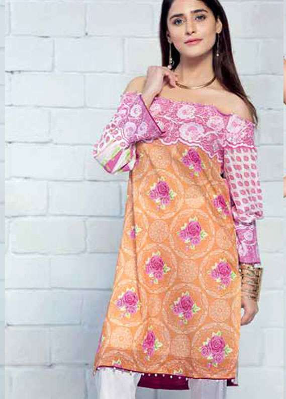 Gul Ahmed Printed Lawn Unstitched 2 Piece Suit GA18L TL-125B - Essential Collection