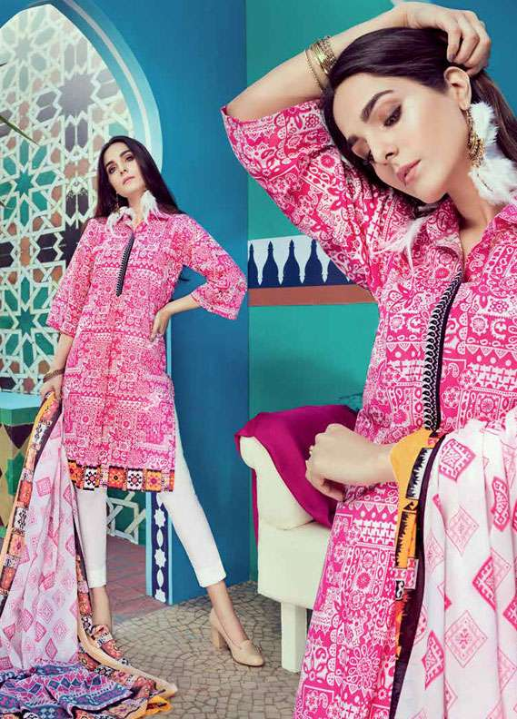 Gul Ahmed Printed Lawn Unstitched 2 Piece Suit GA18L TL-126A - Essential Collection