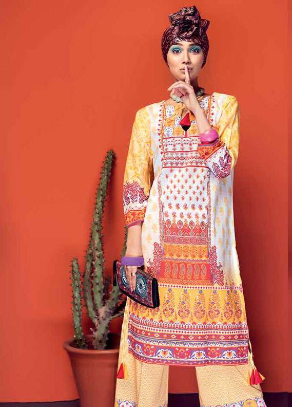Gul Ahmed Printed Lawn Unstitched 2 Piece Suit GA18L TL-144B - Essential Collection