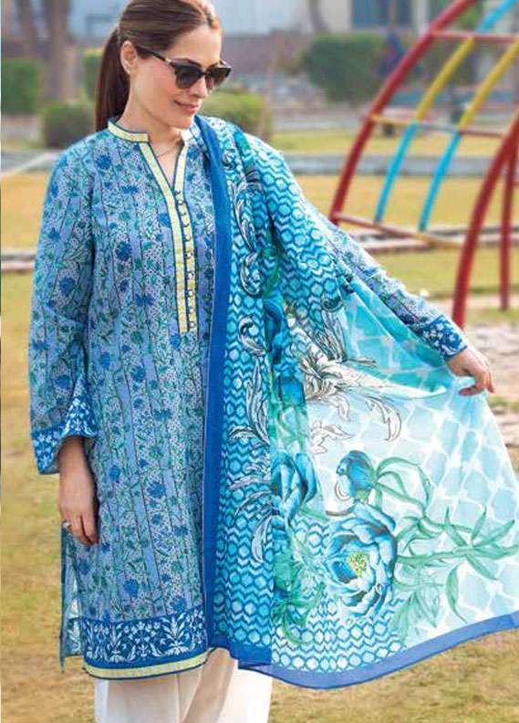 Gul Ahmed Printed Lawn Unstitched 2 Piece Suit GA18L TL-146B - Essential Collection