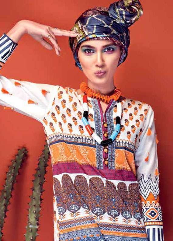 Gul Ahmed Printed Lawn Unstitched 2 Piece Suit GA18L TL-147A - Essential Collection