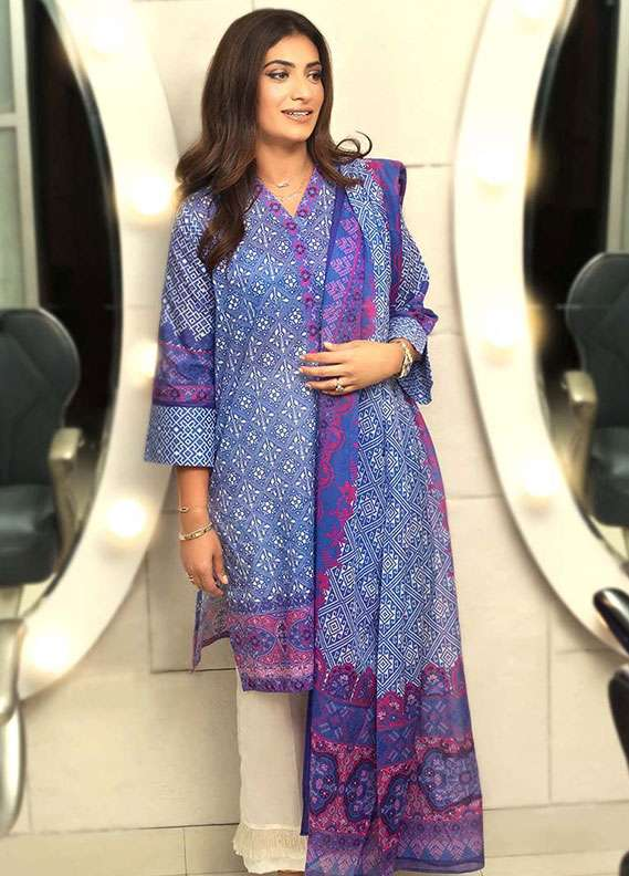 Gul Ahmed Printed Lawn Unstitched 2 Piece Suit GA18L TL-148A - Essential Collection