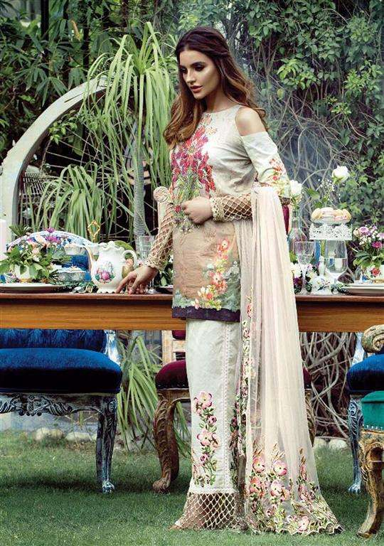 Tabassum Mughal Embroidered Lawn Unstitched 3 Piece Suit TM17E2 1B