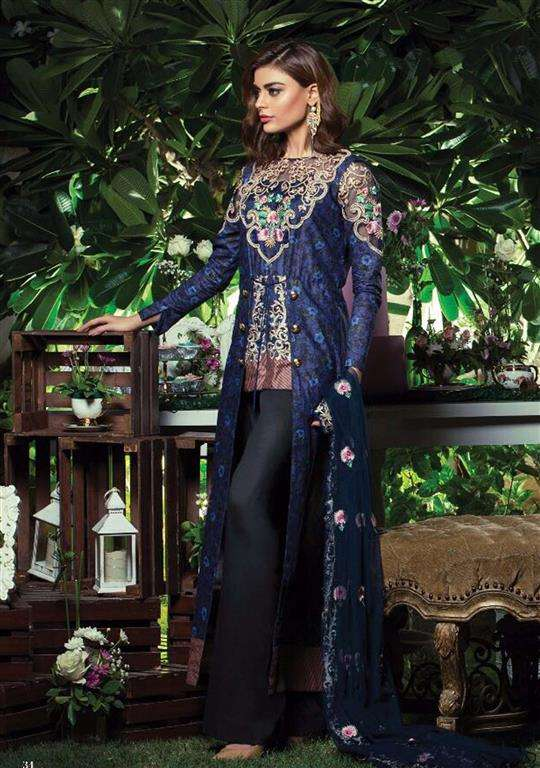 Tabassum Mughal Embroidered Lawn Unstitched 3 Piece Suit TM17E2 4A