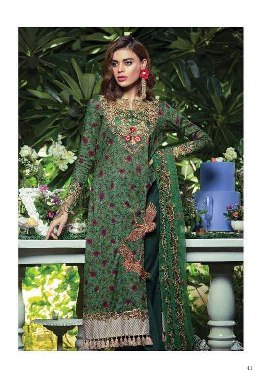 Tabassum Mughal Embroidered Lawn Unstitched 3 Piece Suit TM17E2 4B