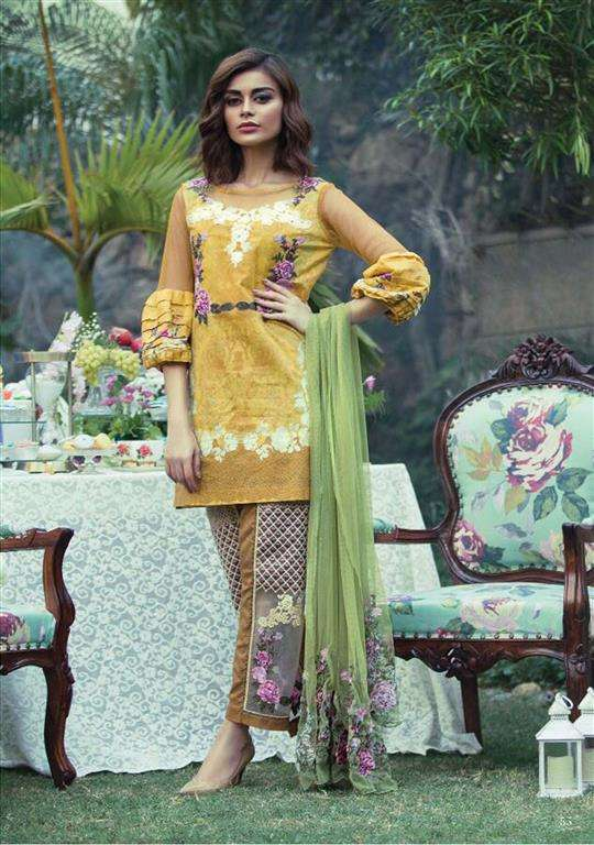 Tabassum Mughal Embroidered Lawn Unstitched 3 Piece Suit TM17E2 6A