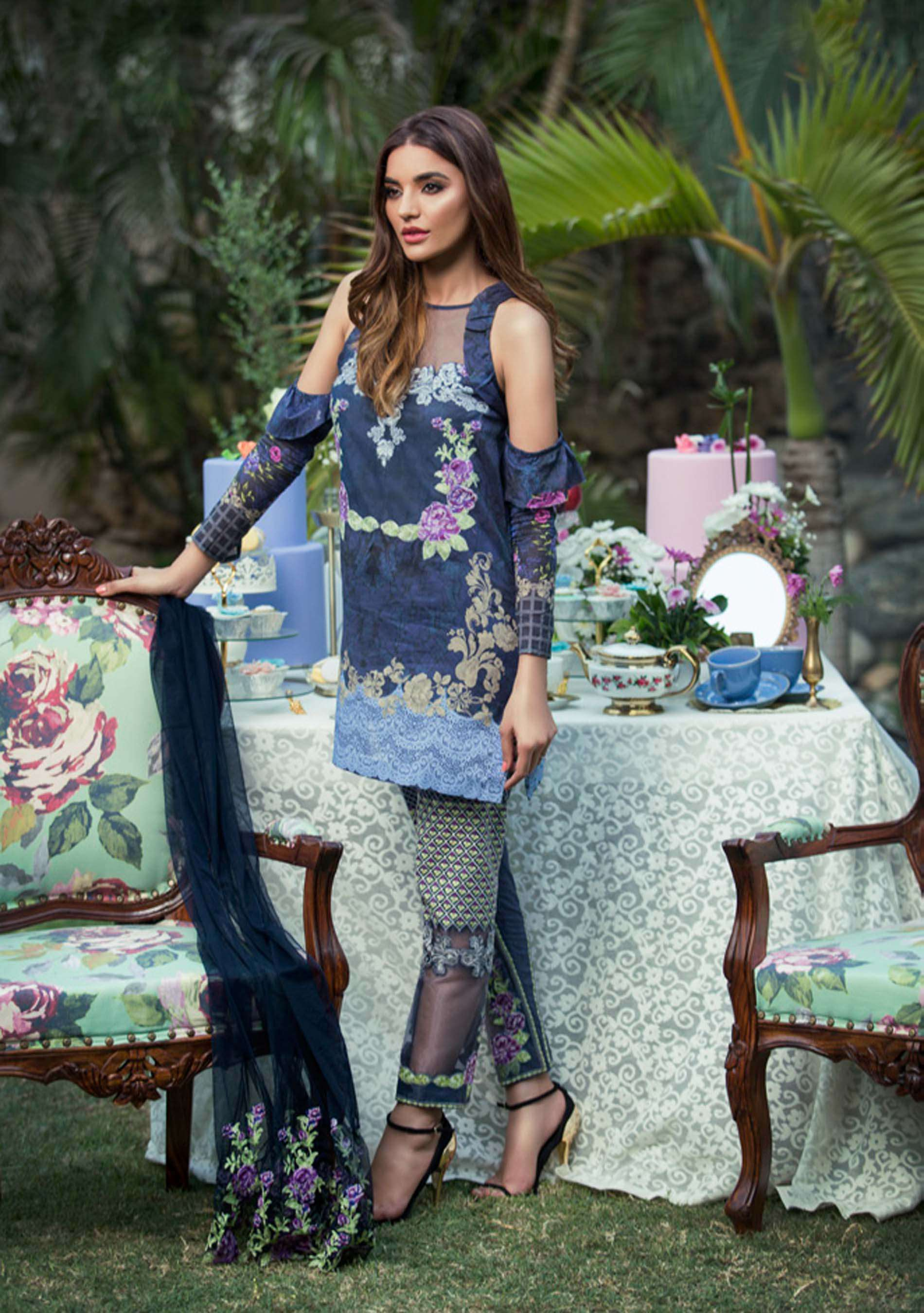 Tabassum Mughal Embroidered Lawn Unstitched 3 Piece Suit TM17E2 6B