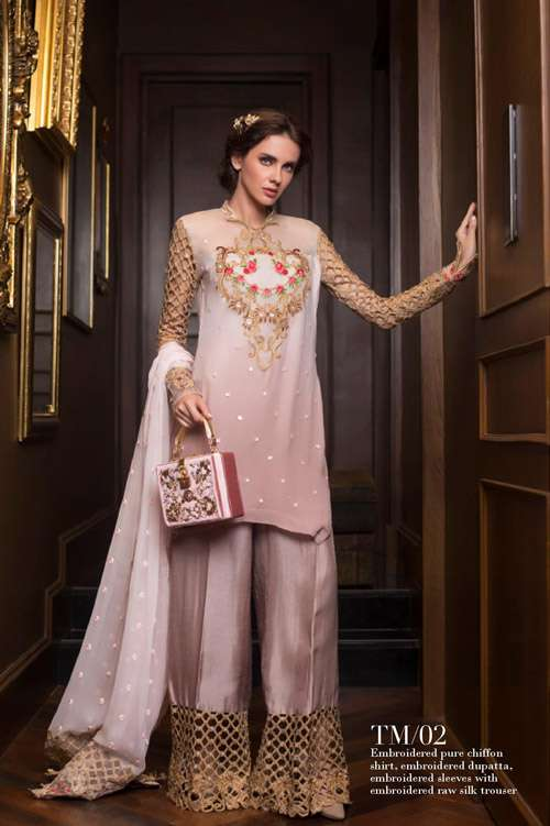 Tabassum Mughal Embroidered Chiffon Unstitched 3 Piece Suit TM17E 02