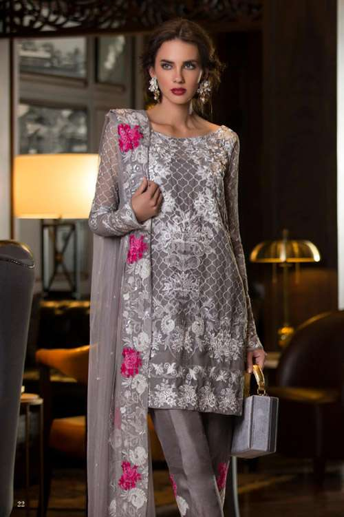Tabassum Mughal Embroidered Chiffon Unstitched 3 Piece Suit TM17E 05