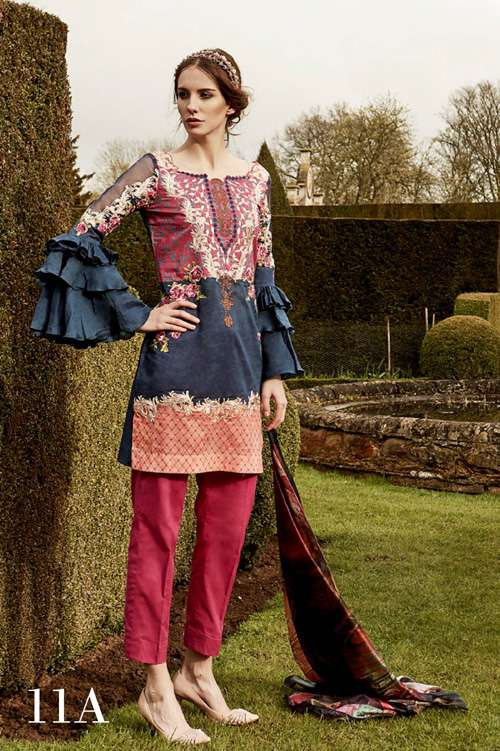 Tabassum Mughal Embroidered Lawn Unstitched 3 Piece Suit TM17L 11A
