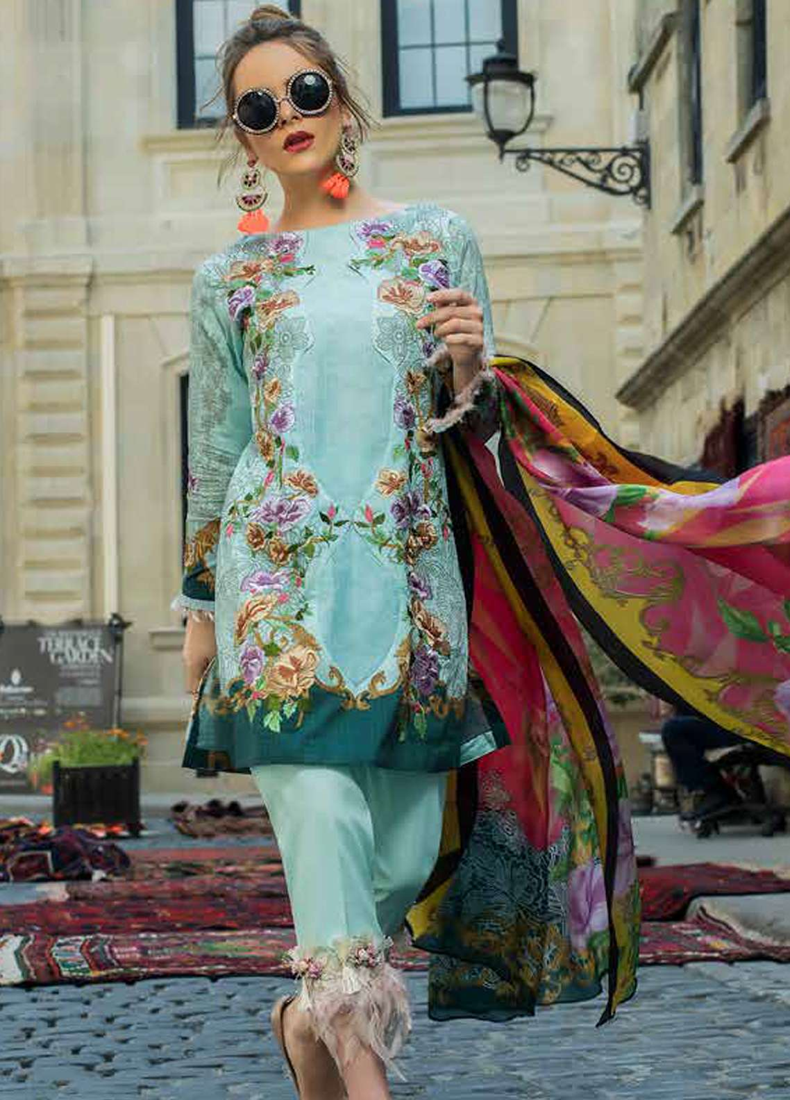 Tabassum Mughal Embroidered Lawn Unstitched 3 Piece Suit TM18F 12 - Eid Collection