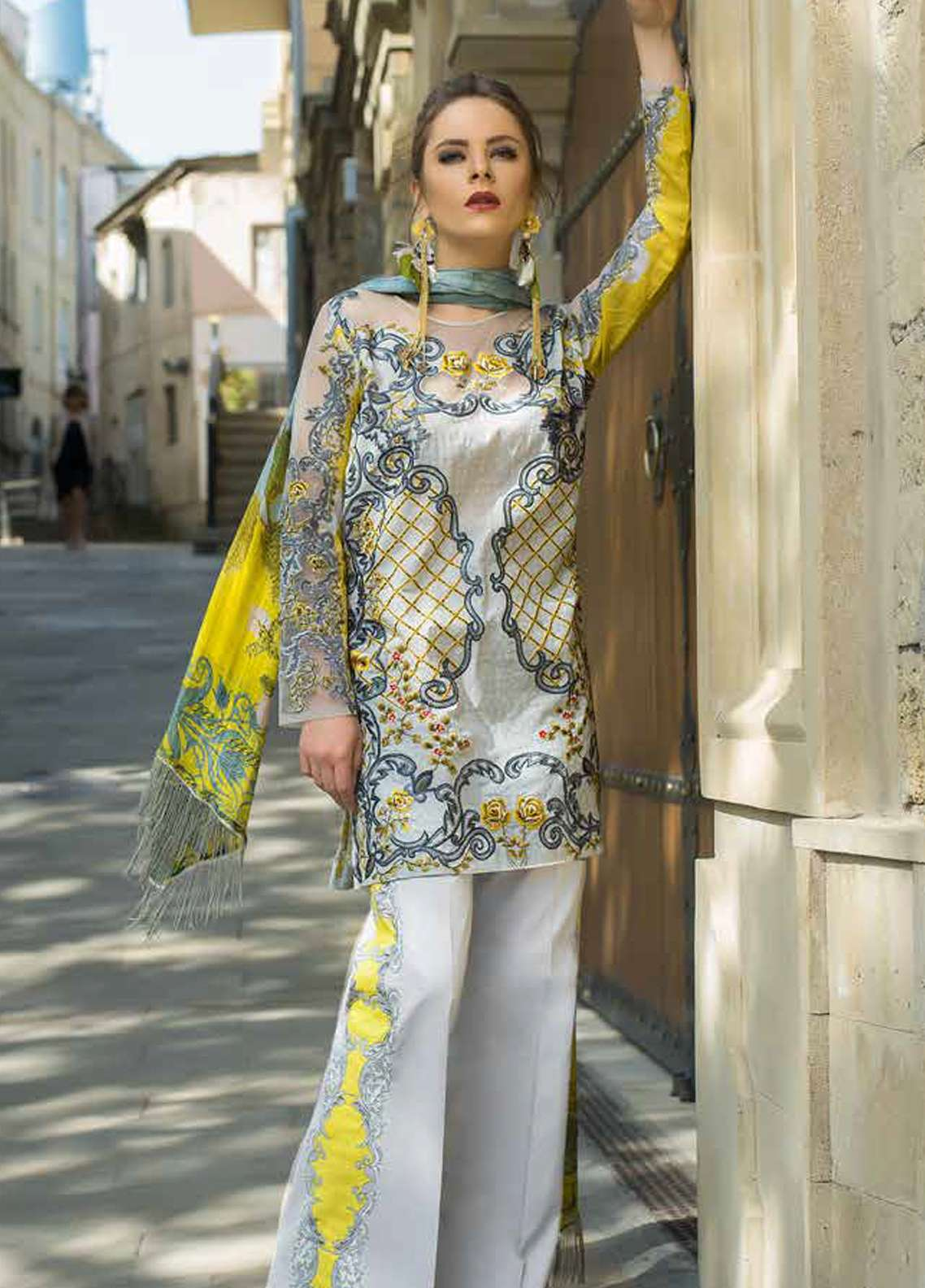 Tabassum Mughal Embroidered Lawn Unstitched 3 Piece Suit TM18F 8A - Eid Collection