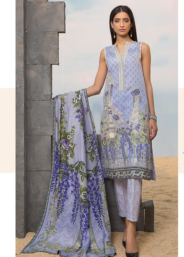 Sapphire Embroidered Cotton Unstitched 3 Piece Suit SP17W Tropical Mist B