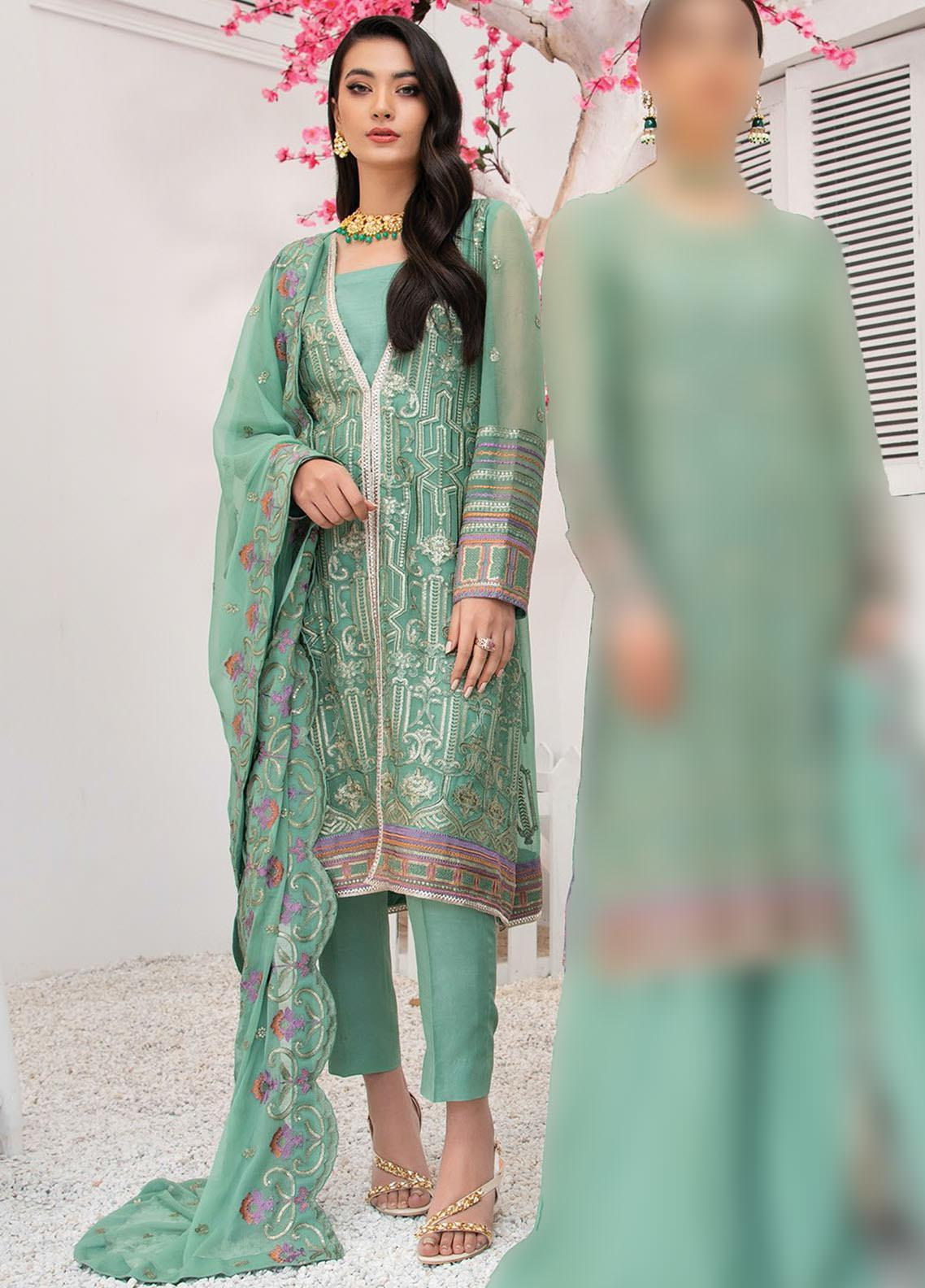 Umang by Blanche Fashion Embroidered Chiffon Unstitched 3 Piece Suit BLF21U 02 IVY - Luxury Collection