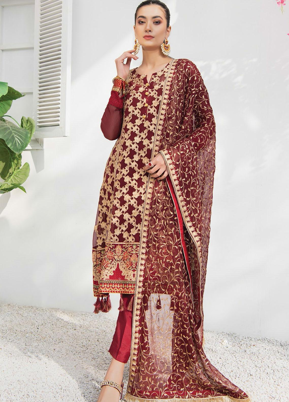 Umang by Blanche Fashion Embroidered Chiffon Unstitched 3 Piece Suit BLF21U 03 ROUGE - Luxury Collection
