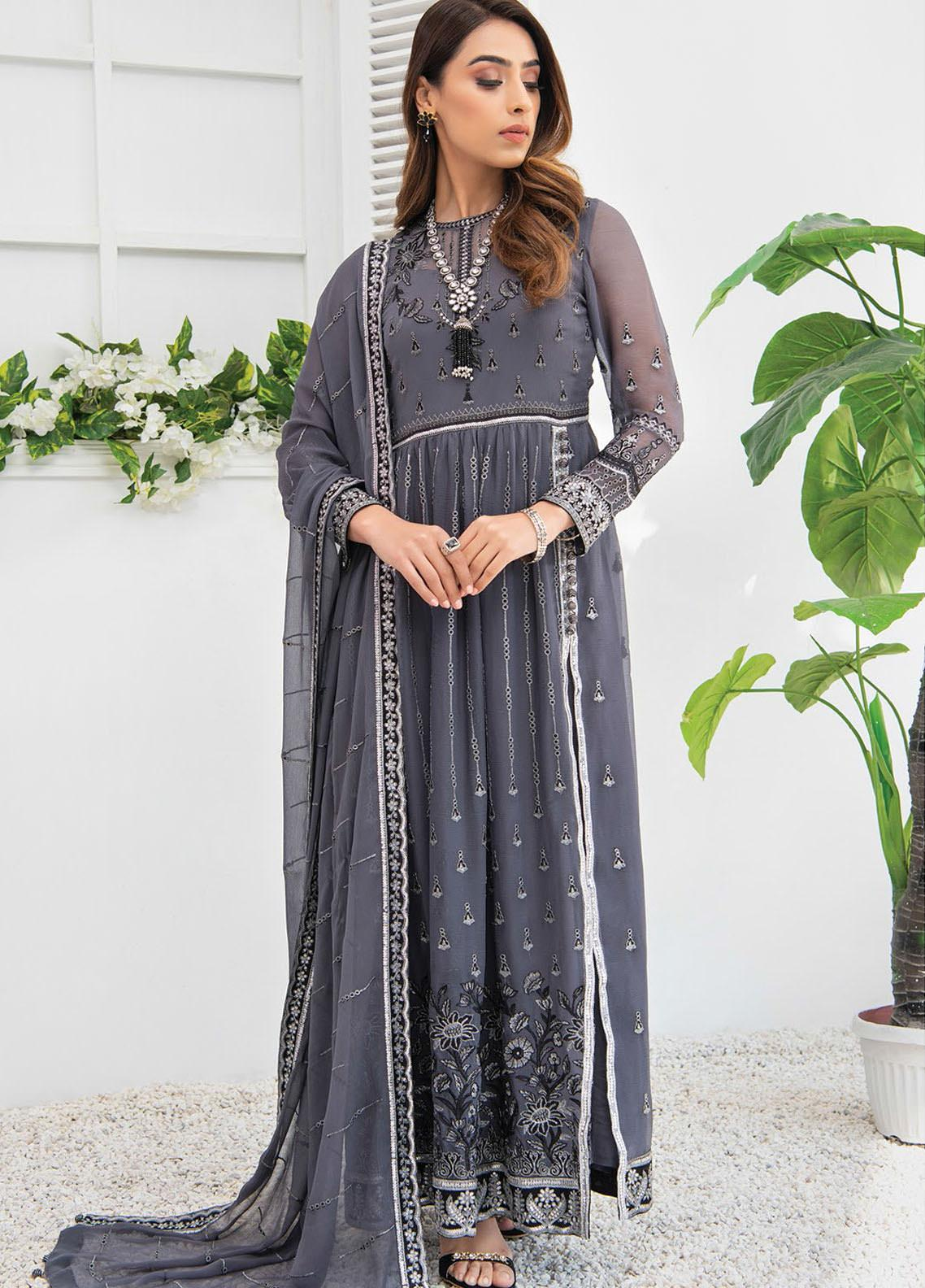 Umang by Blanche Fashion Embroidered Chiffon Unstitched 3 Piece Suit BLF21U 04 NISA - Luxury Collection