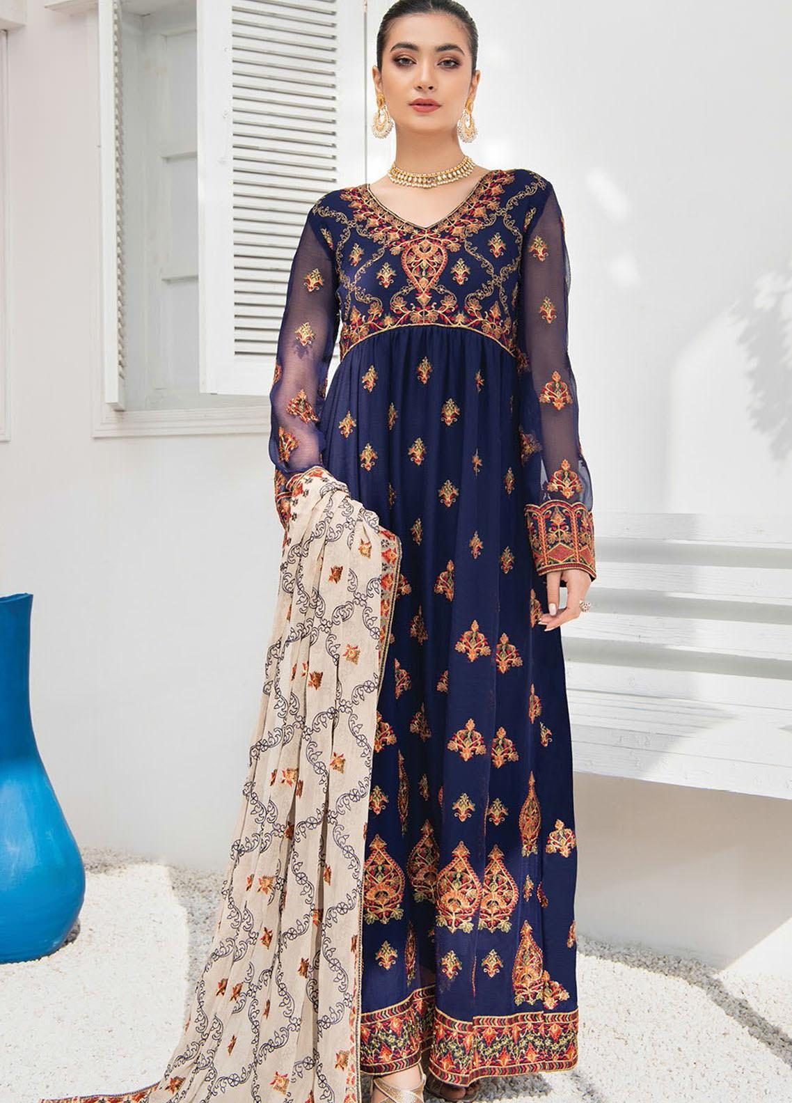 Umang by Blanche Fashion Embroidered Chiffon Unstitched 3 Piece Suit BLF21U 07 ZAINA - Luxury Collection