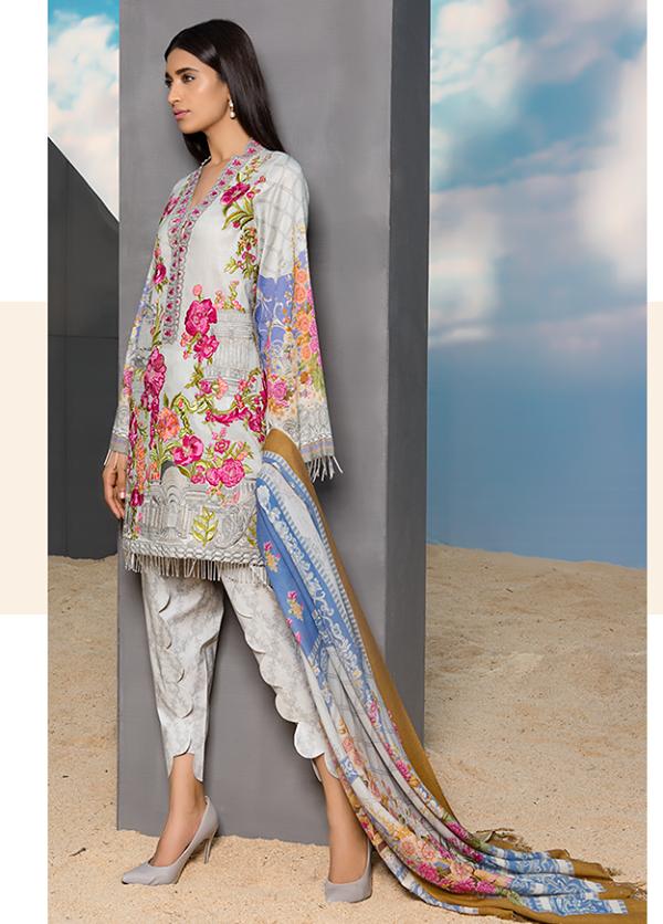 Sapphire Embroidered Cotton Unstitched 3 Piece Suit SP17W Vainglorious Prim B