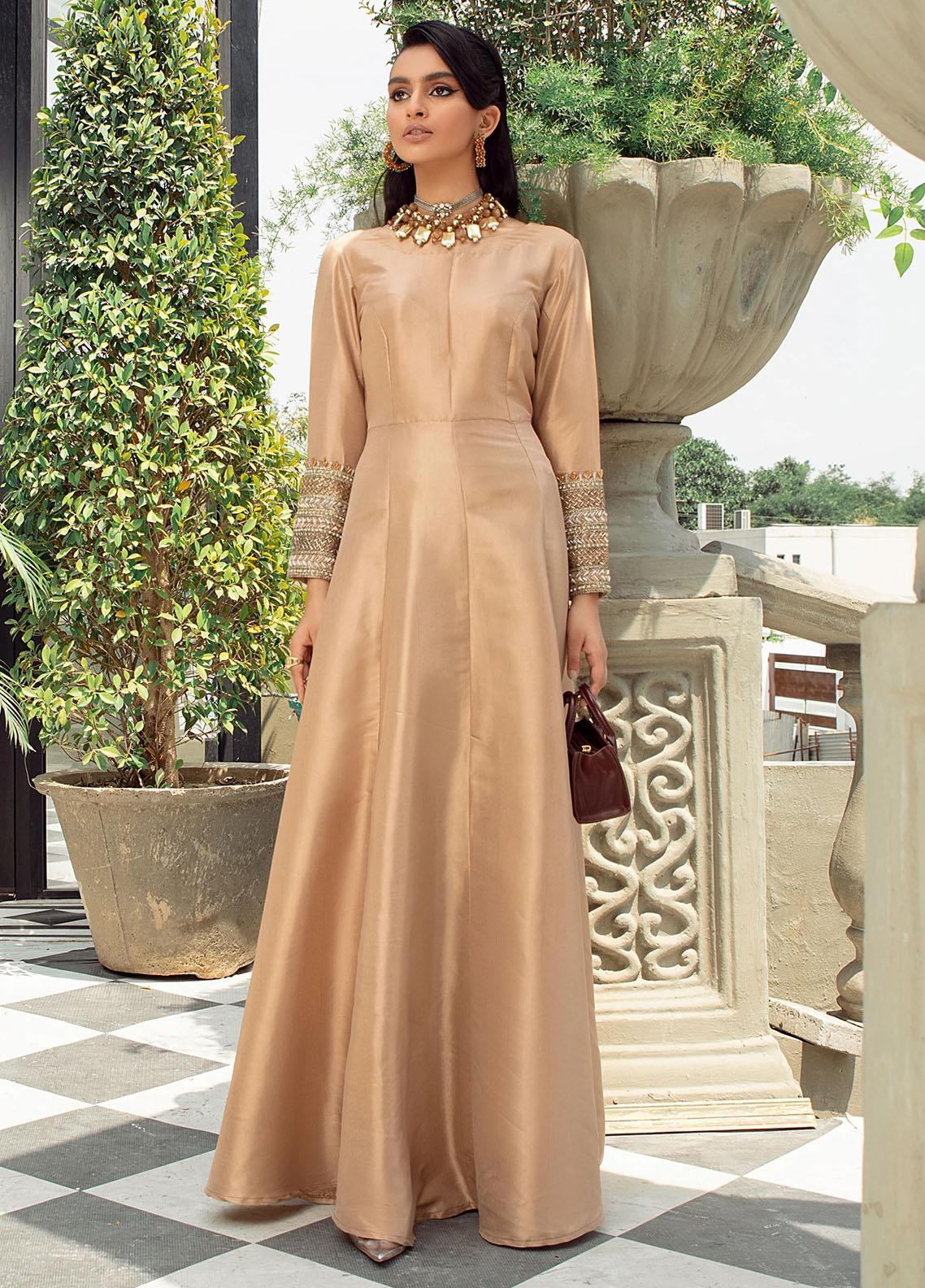 Vanya Party Wear Raw Silk Stitched Gown FJ-06