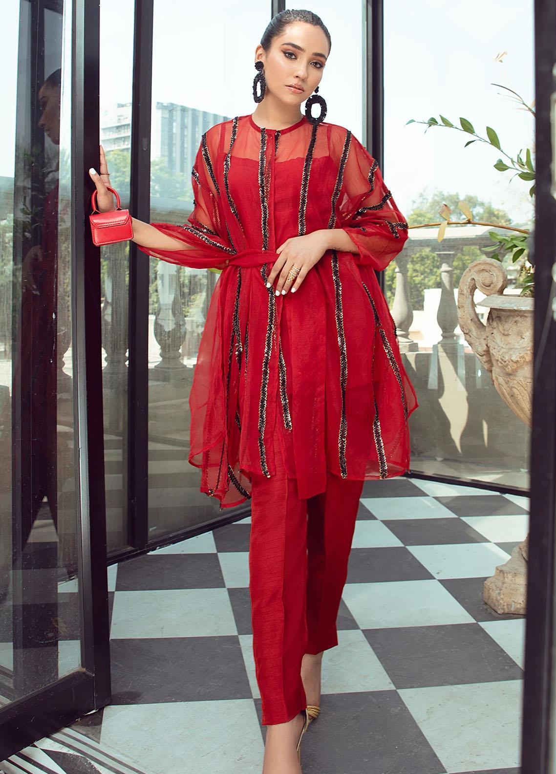 Vanya Party Wear Raw Silk Stitched 2 Piece Dress FJ-10