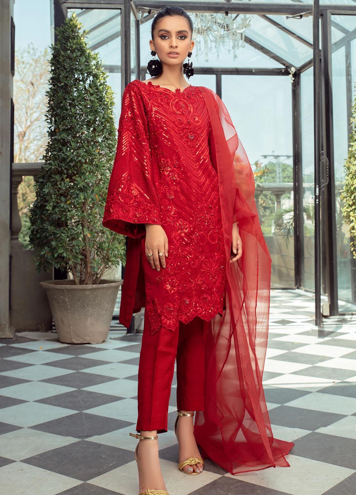Vanya Embroidered Raw Silk Stitched 3 Piece Suit FJ-13