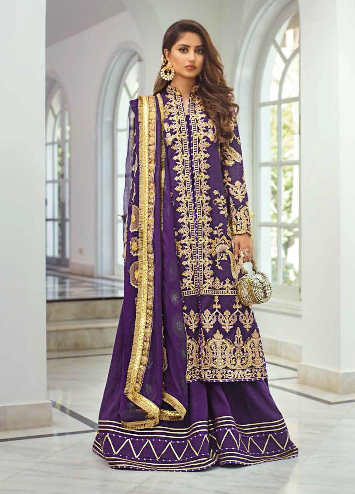 Vasl by Asim Jofa Embroidered Raw Silk Unstitched 3 Piece Suit AJ20LF 03 - Luxury Collection