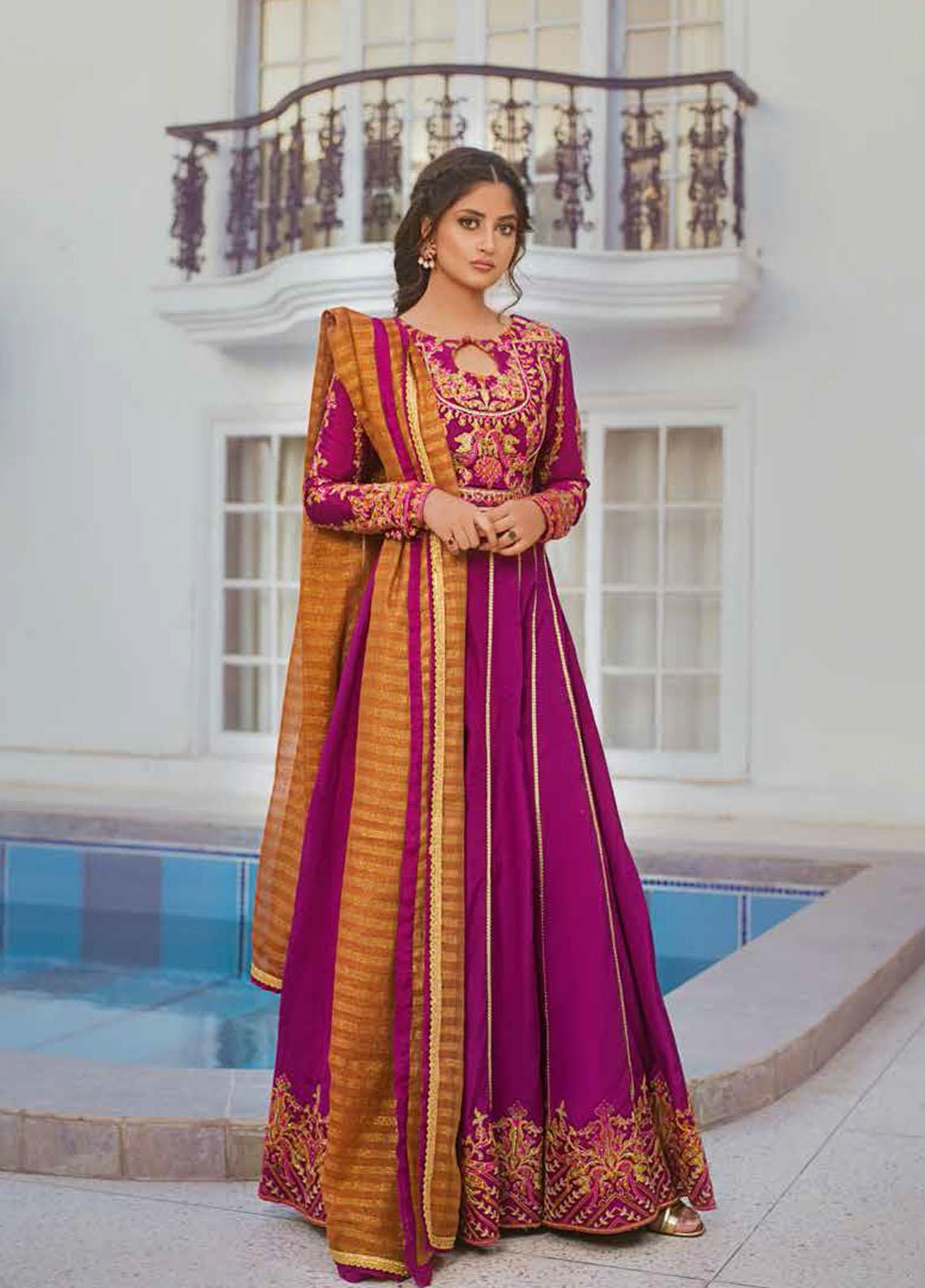 Vasl by Asim Jofa Embroidered Raw Silk Unstitched 3 Piece Suit AJ20LF 08 - Luxury Collection