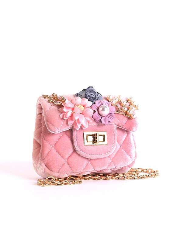 Velvet Mini Handbags for Girls - Pink with Velvet Keyring