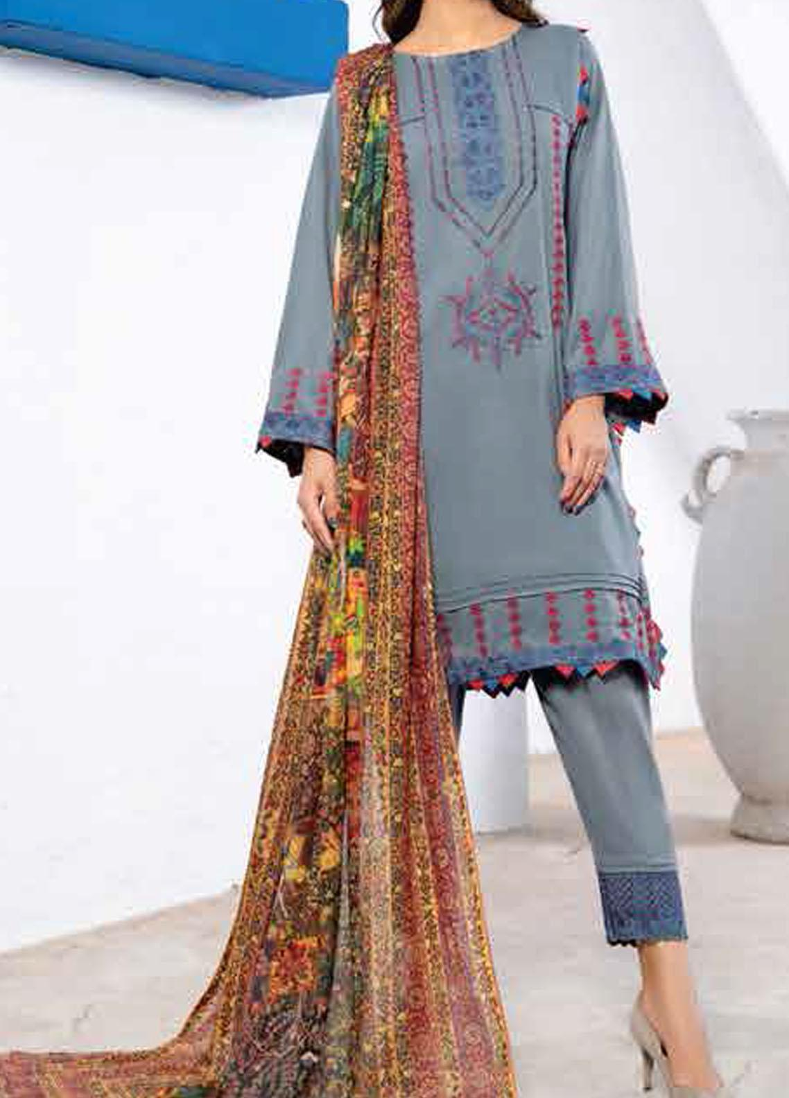 Vintage by Panache Embroidered Leather Peach Unstitched 3 Piece Suit PCH20V 10 - Winter Collection