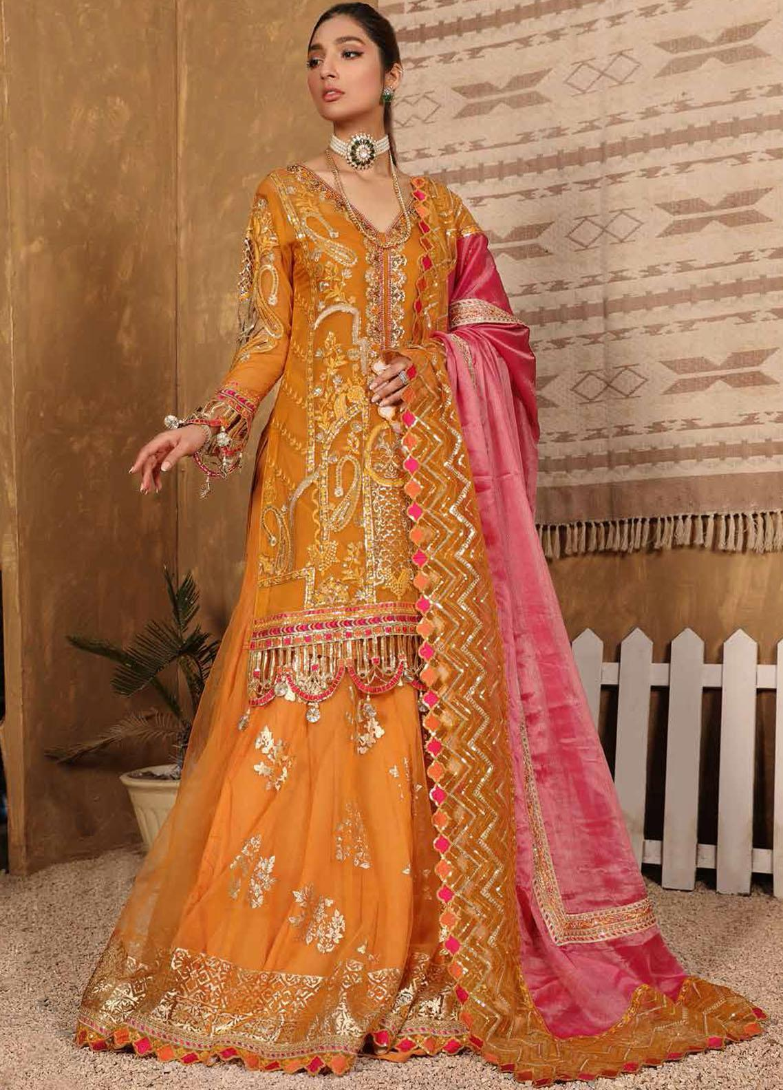Virsa By Emaan Adeel Embroidered Organza Suits Unstitched 3 Piece EA21V 02 - Luxury Collection