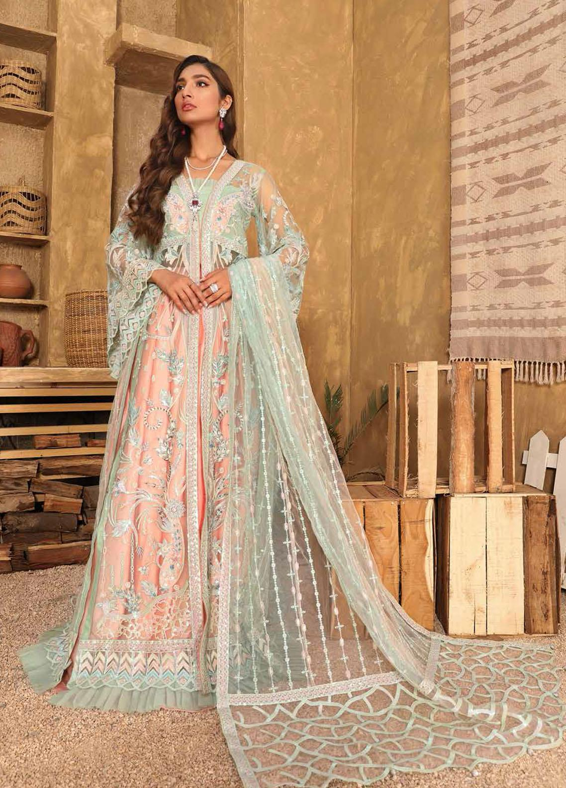 Virsa By Emaan Adeel Embroidered Net Suits Unstitched 3 Piece EA21V 03 - Luxury Collection