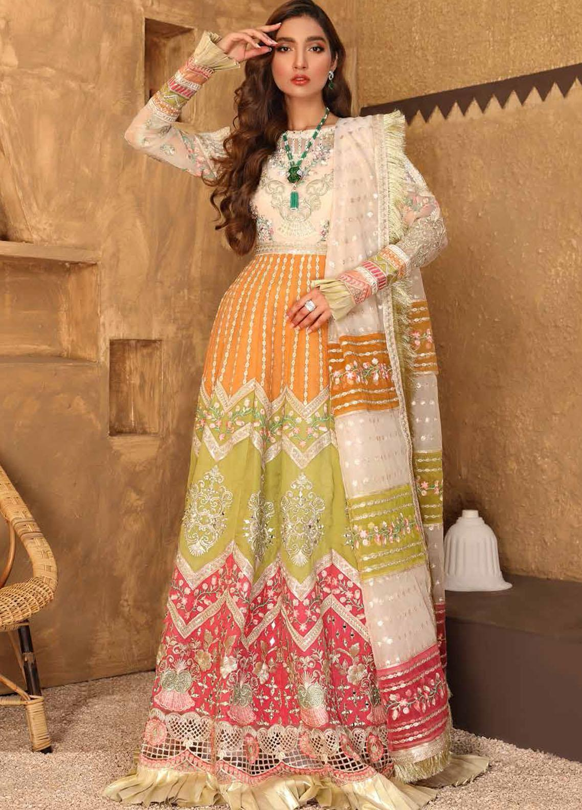 Virsa By Emaan Adeel Embroidered Organza Suits Unstitched 3 Piece EA21V 05 - Luxury Collection