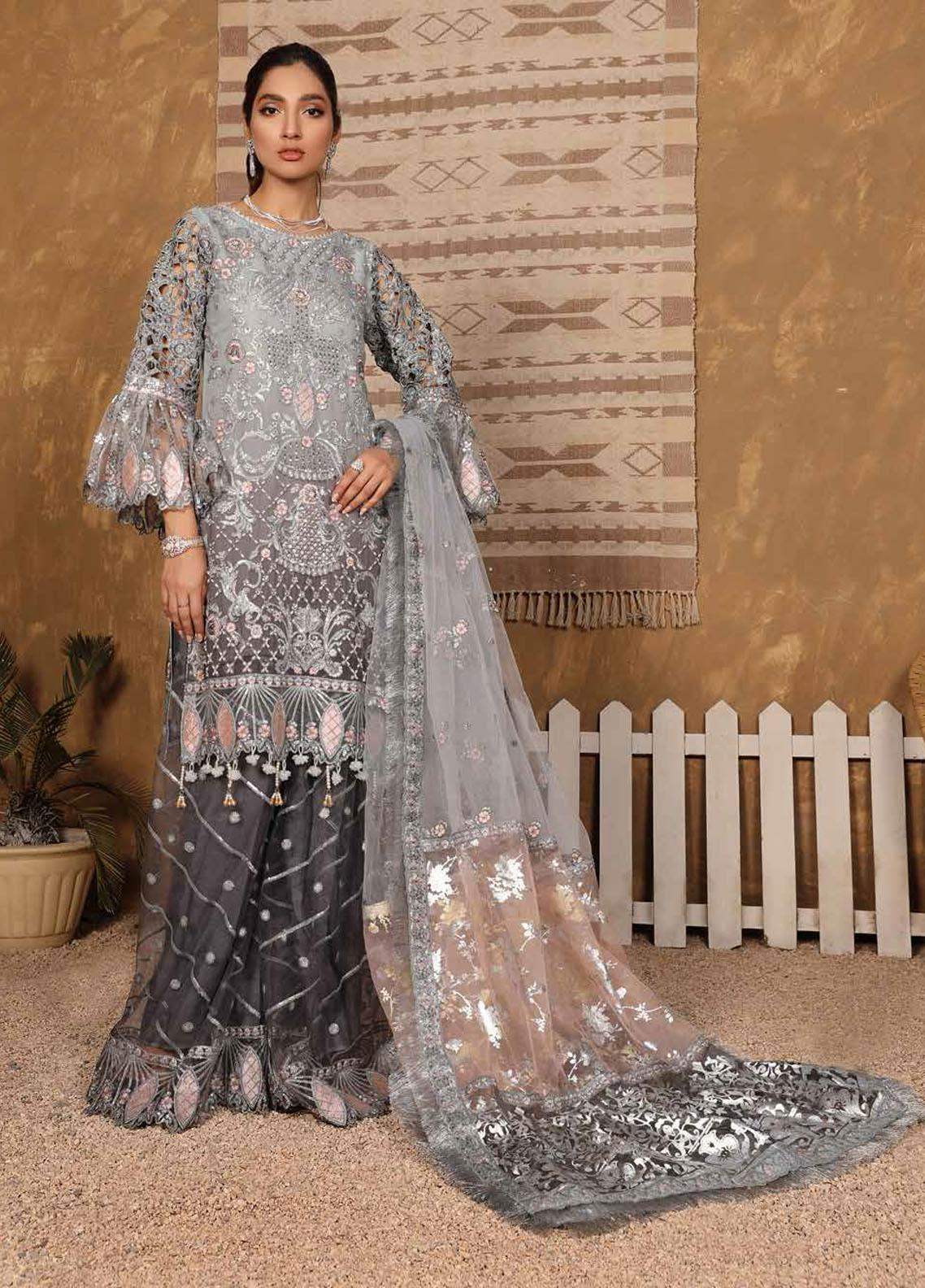 Virsa By Emaan Adeel Embroidered Chiffon Suits Unstitched 3 Piece EA21V 06 - Luxury Collection