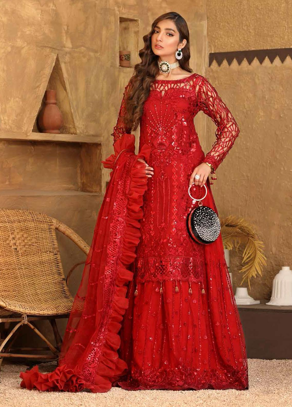 Virsa By Emaan Adeel Embroidered Chiffon Suits Unstitched 3 Piece EA21V 08 - Luxury Collection