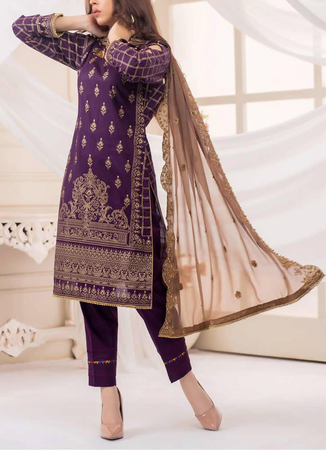 Vital Gold Soiree by AB Textiles Embroidered Cotton Unstitched 3 Piece Suit AB20V 03 Beige - Formal Collection