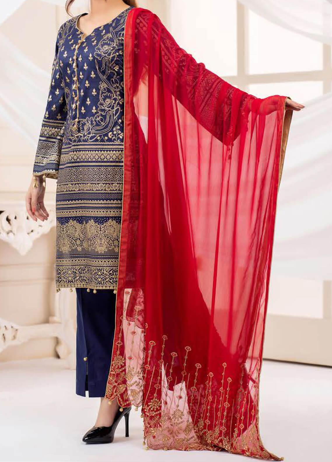 Vital Gold Soiree by AB Textiles Embroidered Cotton Unstitched 3 Piece Suit AB20V 05 Rouge - Formal Collection