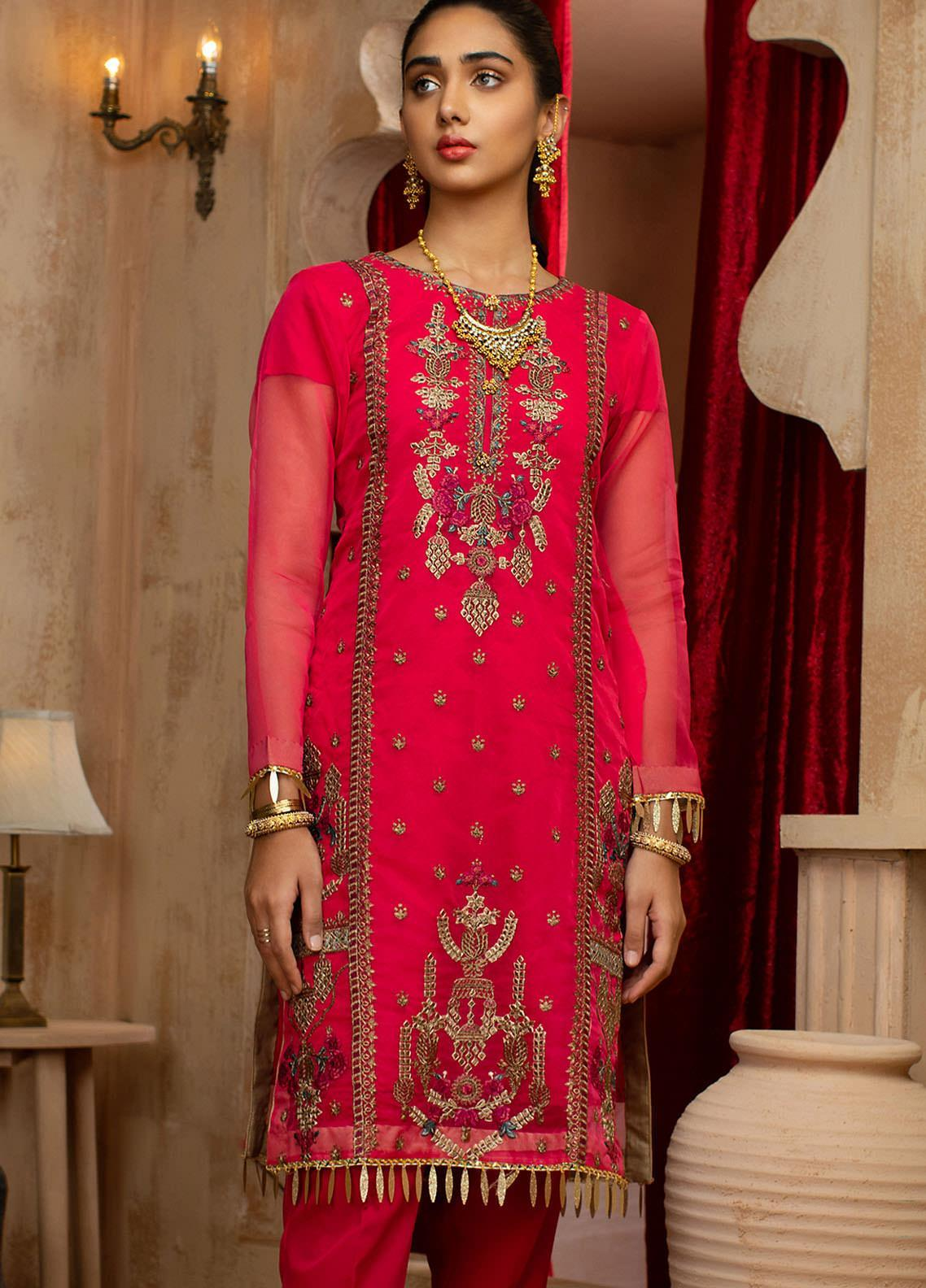 Vital Soiree By AB Textiles Embroidered Organza  Unstitched Kurties AB21VS VWE-01 ROSE - Festive Collection
