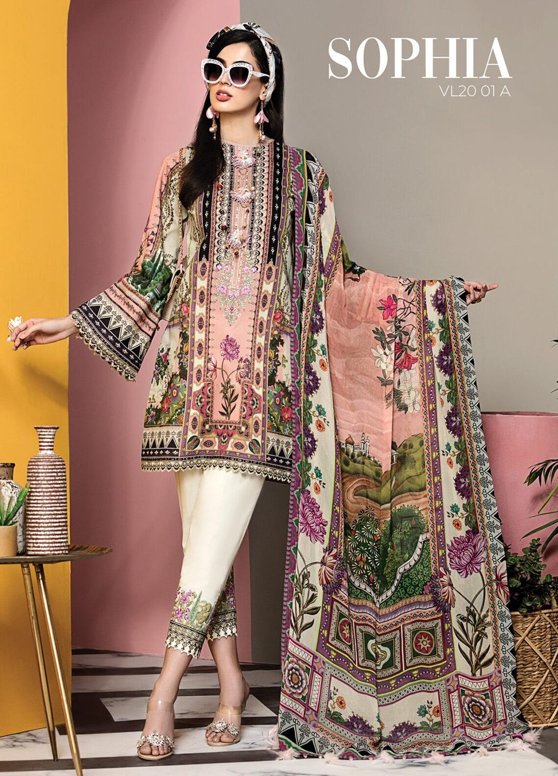 Viva by Anaya Embroidered Lawn Unstitched 3 Piece Suit V20AKC 01 A SOPHIA - Summer Collection