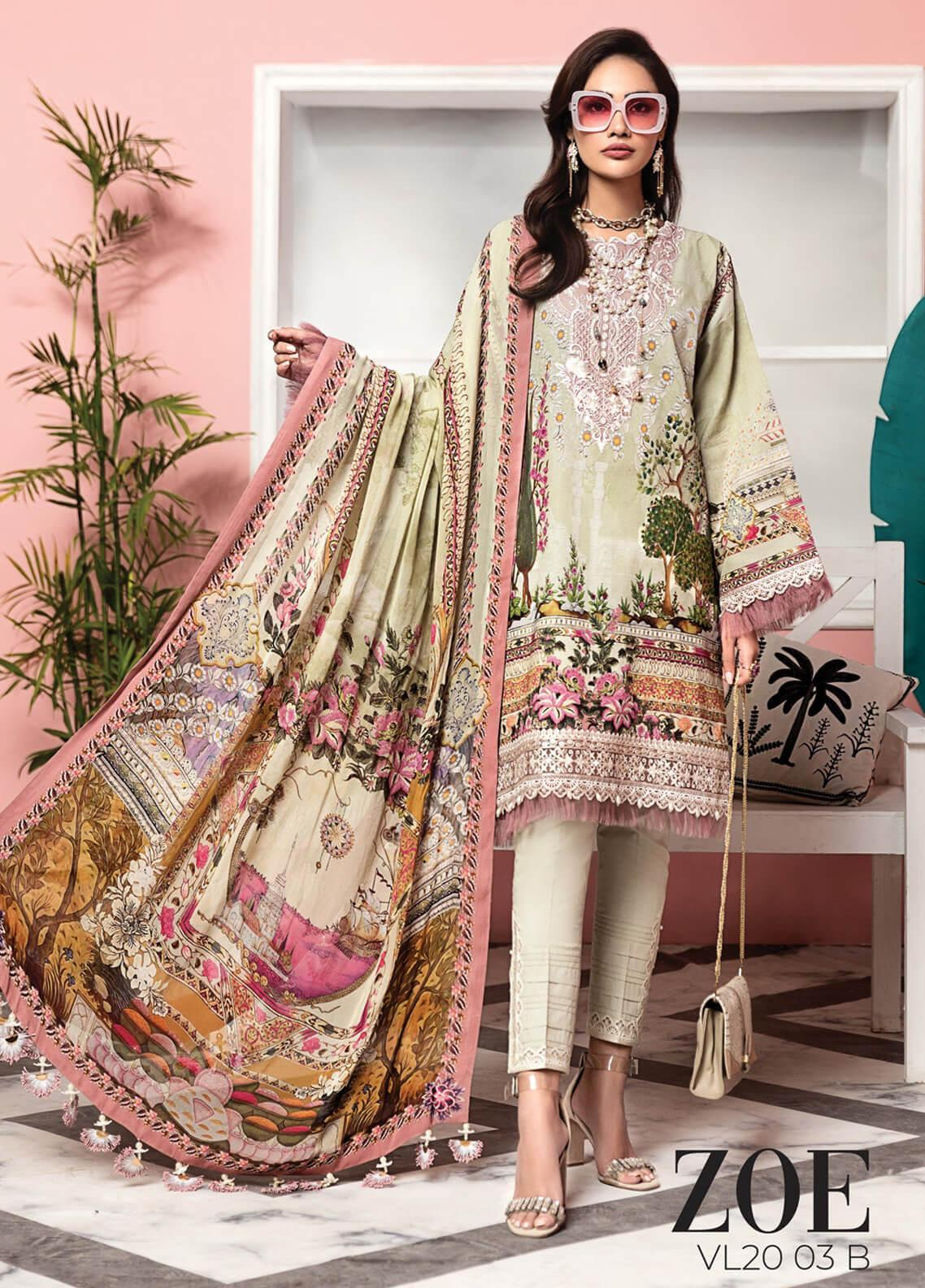 Viva by Anaya Embroidered Lawn Unstitched 3 Piece Suit V20AKC 03 B ZOE - Summer Collection