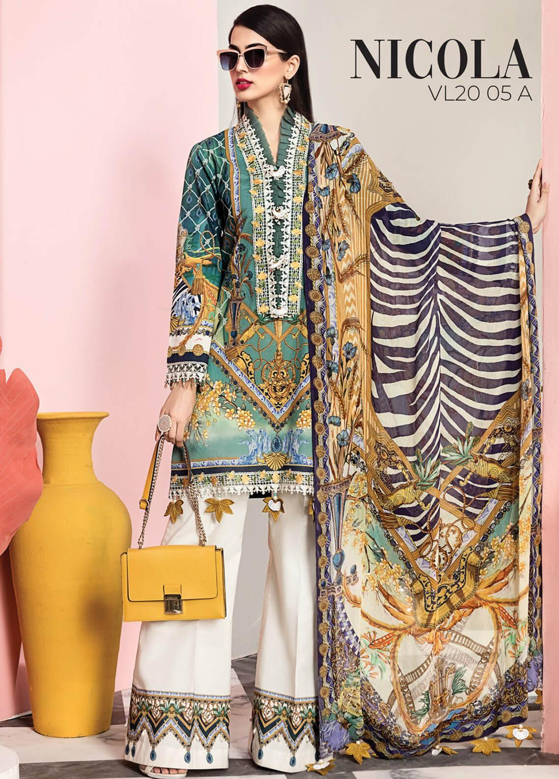 Viva by Anaya Embroidered Lawn Unstitched 3 Piece Suit V20AKC 05 A NICOLA - Summer Collection