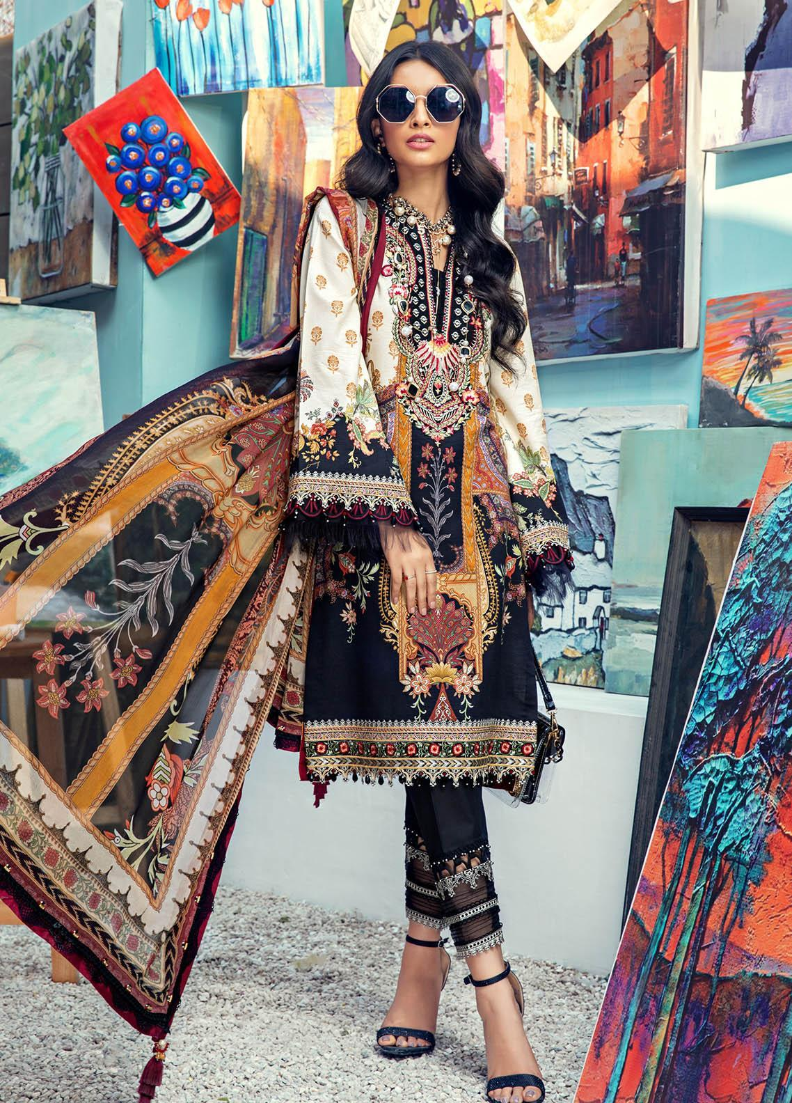 Anaya By Kiran Chaudhry Embroidered Lawn Suits Unstitched 3 Piece AK21VL VL21-04-B ARIA - Summer Collection