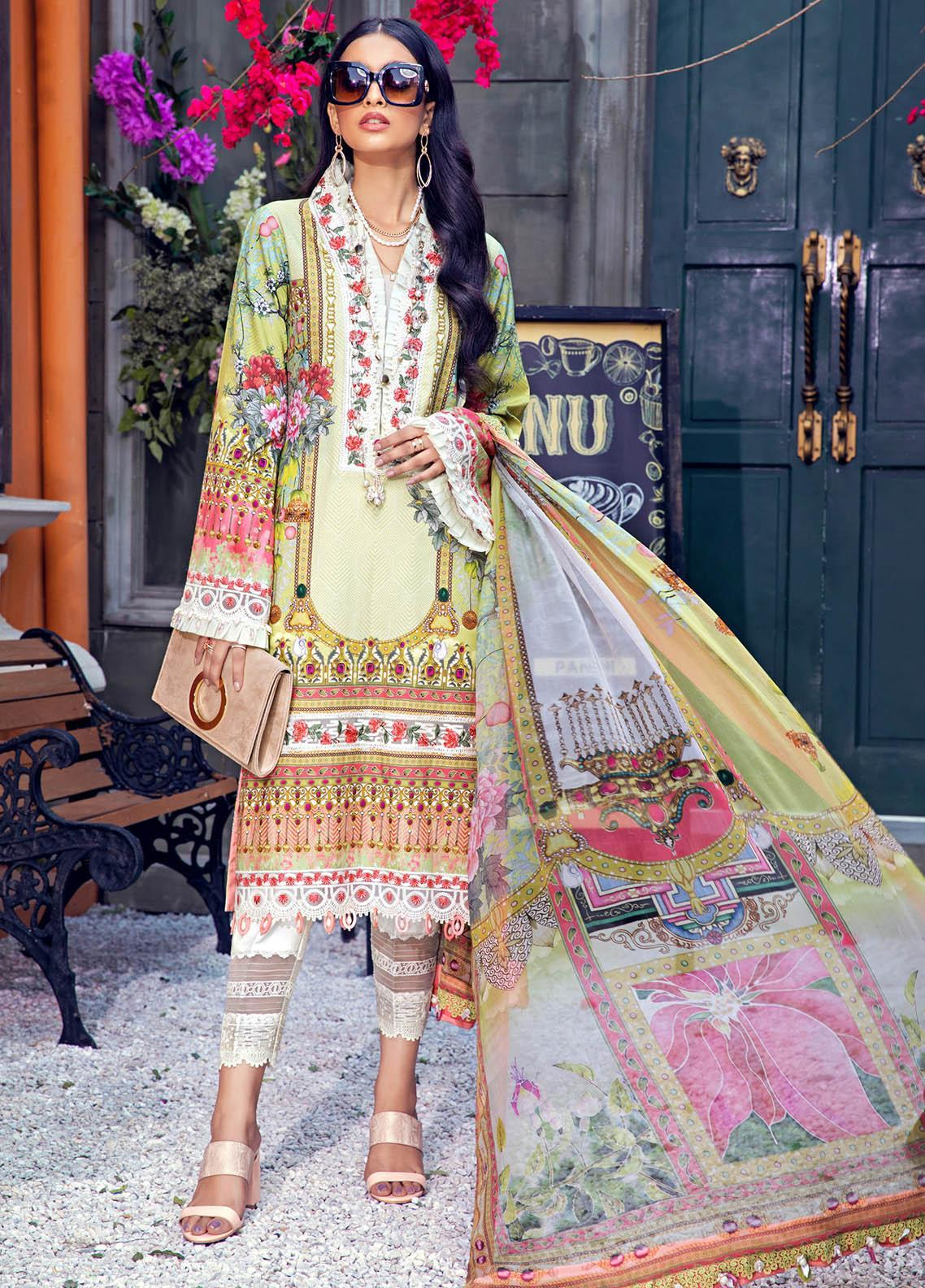 Anaya By Kiran Chaudhry Embroidered Lawn Suits Unstitched 3 Piece AK21VL VL21-06-B FLORA - Summer Collection