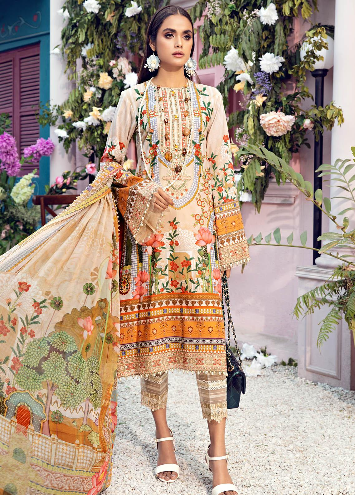 Anaya By Kiran Chaudhry Embroidered Lawn Suits Unstitched 3 Piece AK21VL VL21-08-A TRICIA - Summer Collection