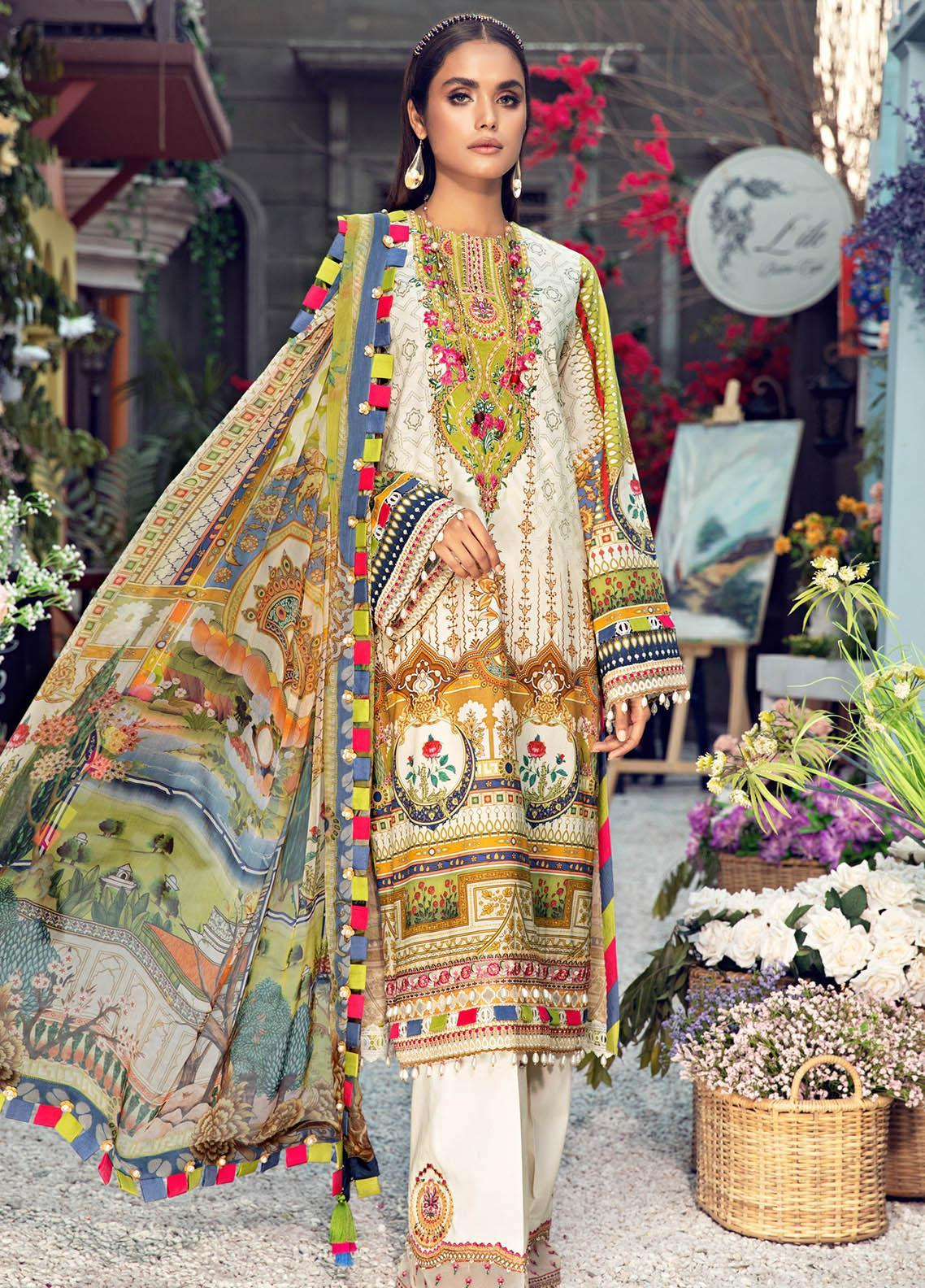 Anaya By Kiran Chaudhry Embroidered Lawn Suits Unstitched 3 Piece AK21VL VL21-10-A AMAYA - Summer Collection