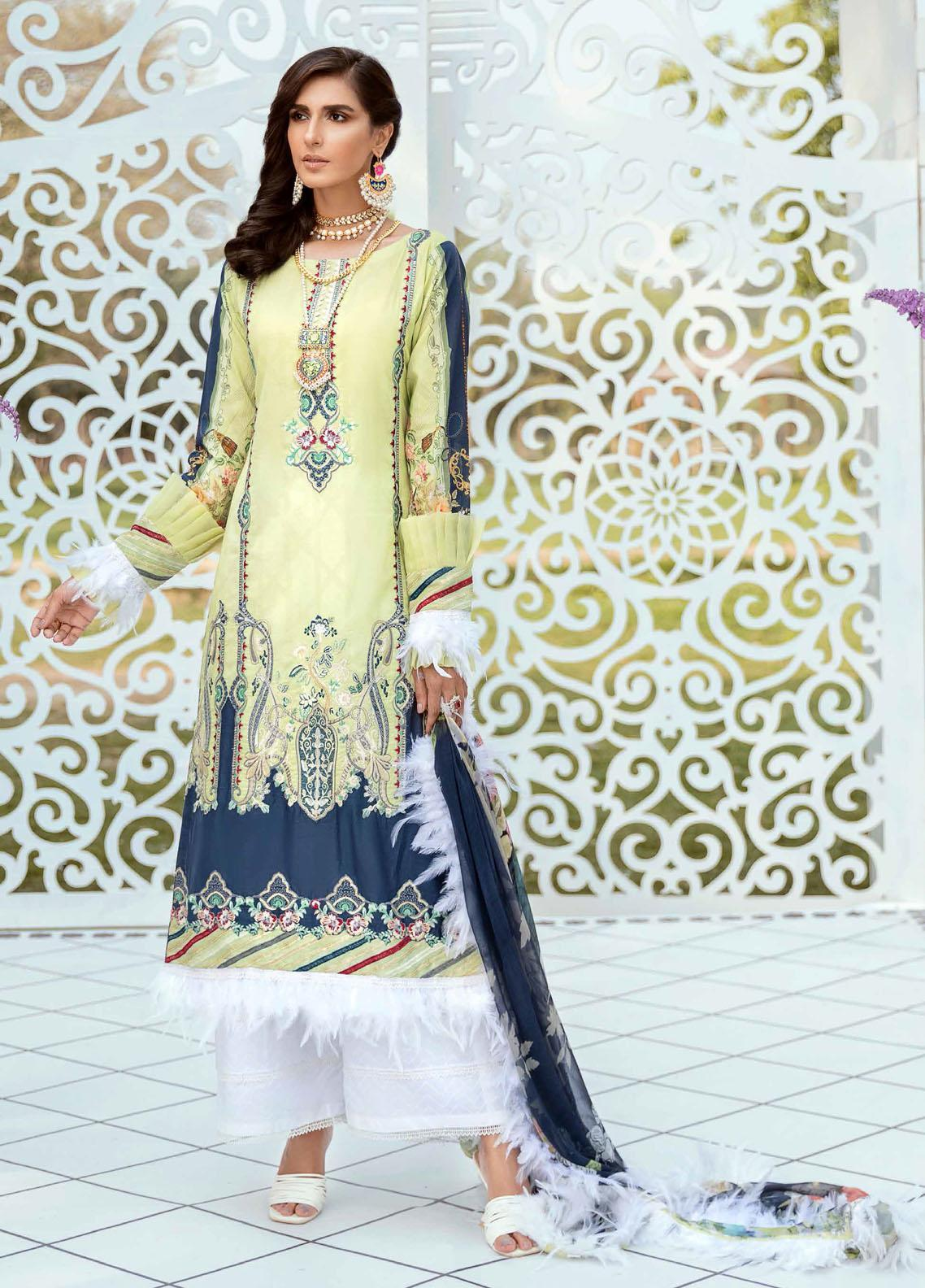 Vogue by Emaan Adeel Embroidered Lawn Suits Unstitched 3 Piece EA21VF 05 LIME CHARM - Festive Collection