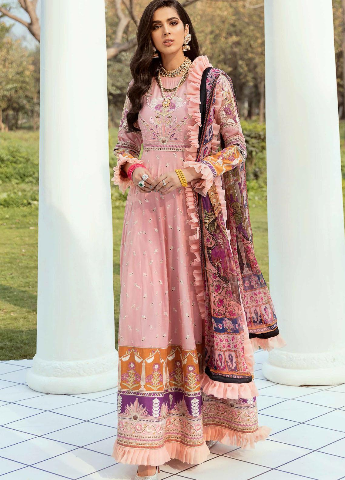 Vogue by Emaan Adeel Embroidered Lawn Suits Unstitched 3 Piece EA21VF 06 PLUSH PINK - Festive Collection