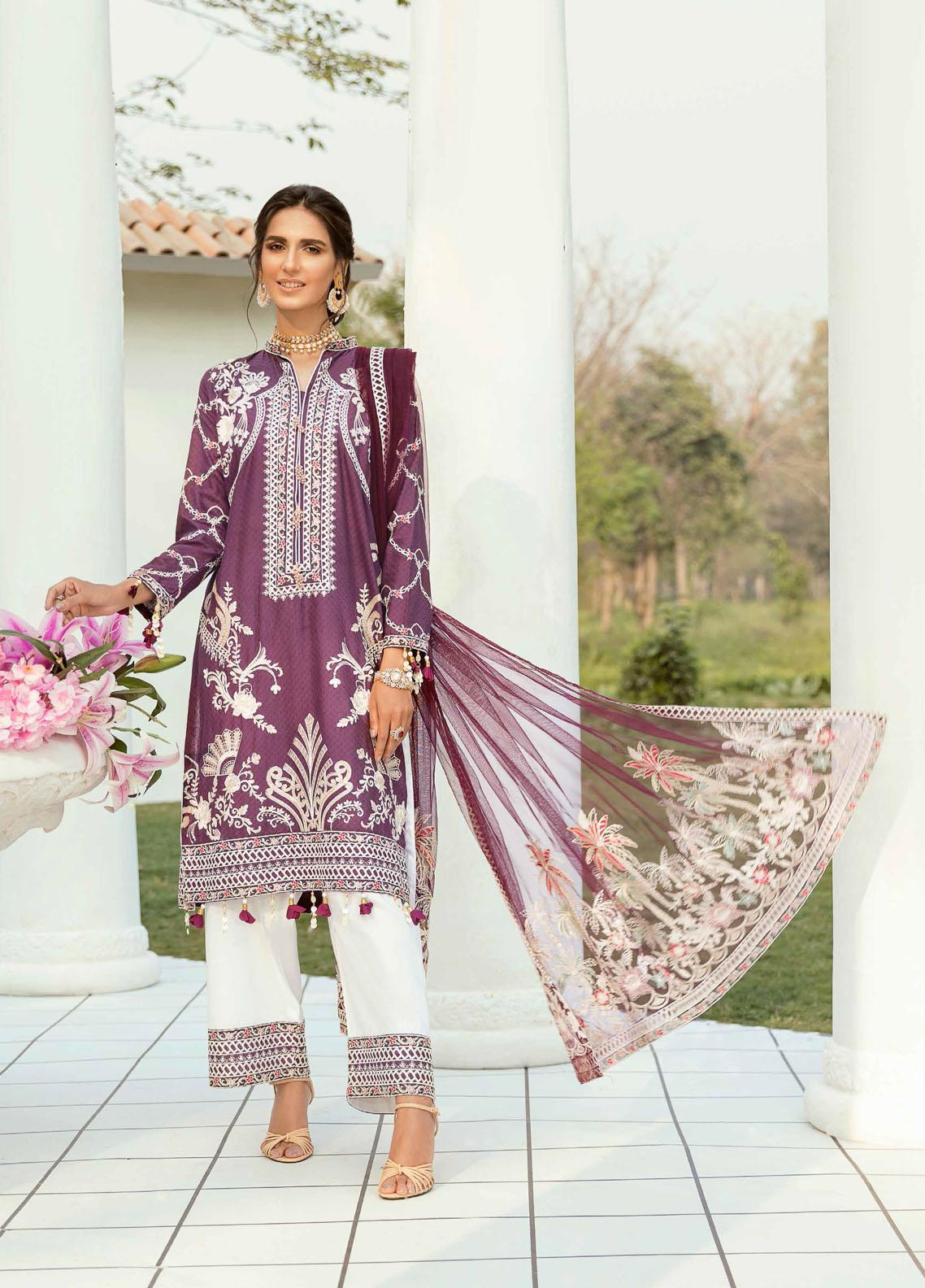 Vogue by Emaan Adeel Embroidered Lawn Suits Unstitched 3 Piece EA21VF 07 PLUM RICH - Festive Collection