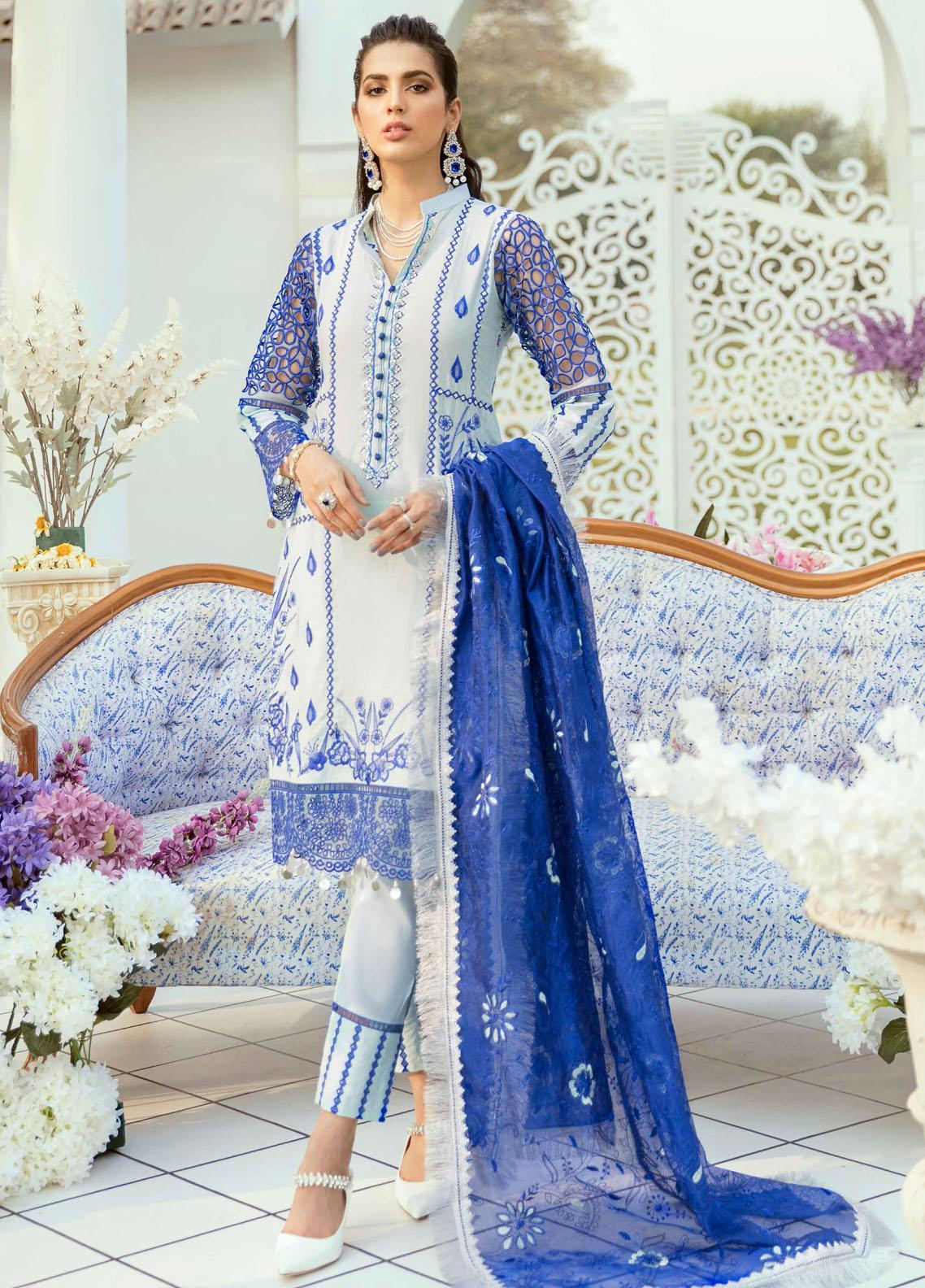 Vogue by Emaan Adeel Embroidered Lawn Suits Unstitched 3 Piece EA21VF 09 FROSTY GRACE - Festive Collection