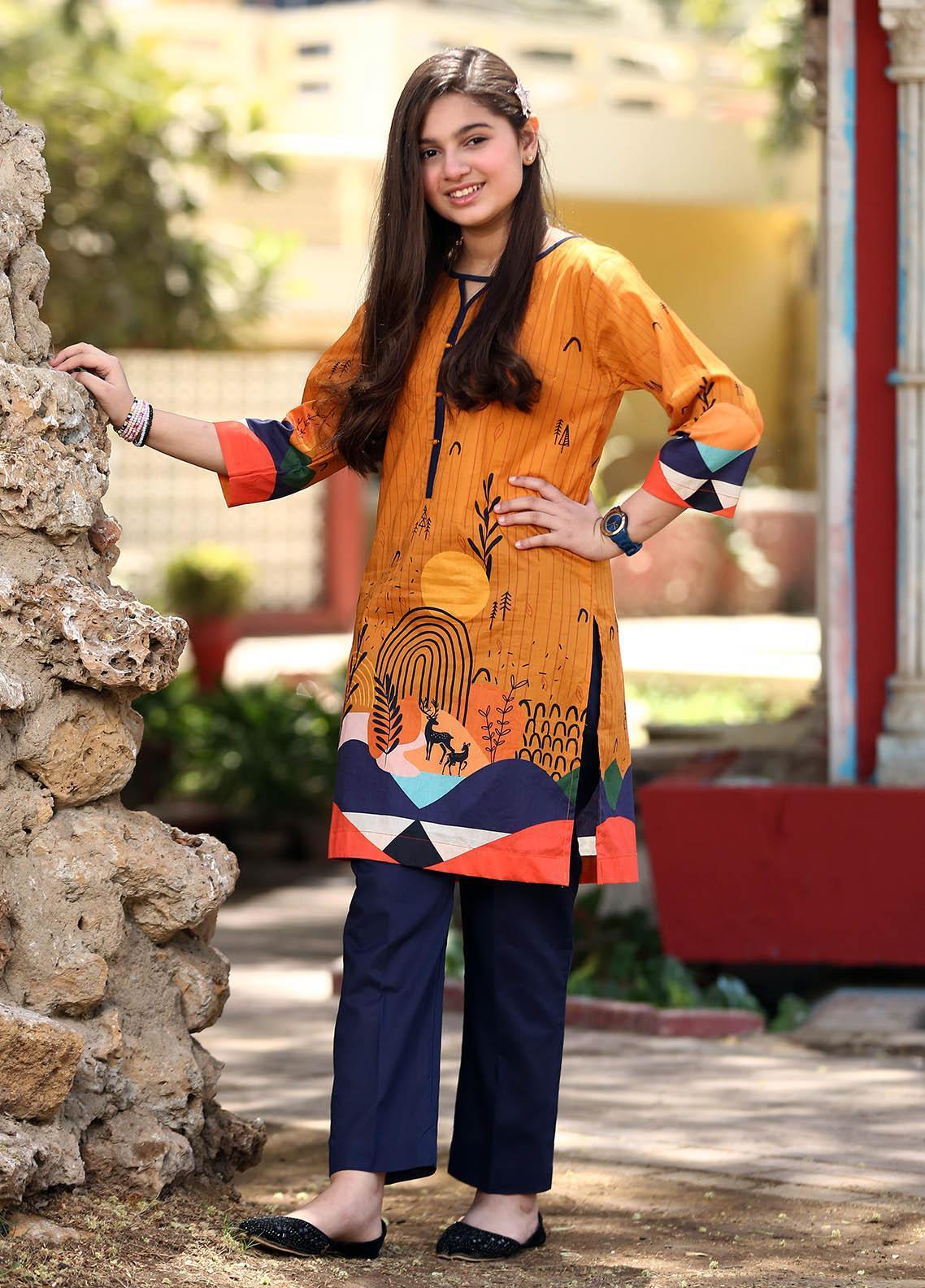 Waniya Lawn Printed 2 Piece Suit for Girls -  WKA20-25D DESERT ROSE